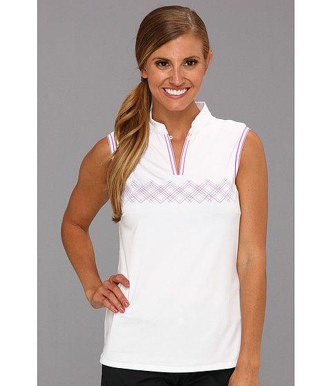 06062562c4549 adidas Golf Climacool® Argyle Sleeveless Mandarin Polo White - 6pm.com   6PMStyleScore