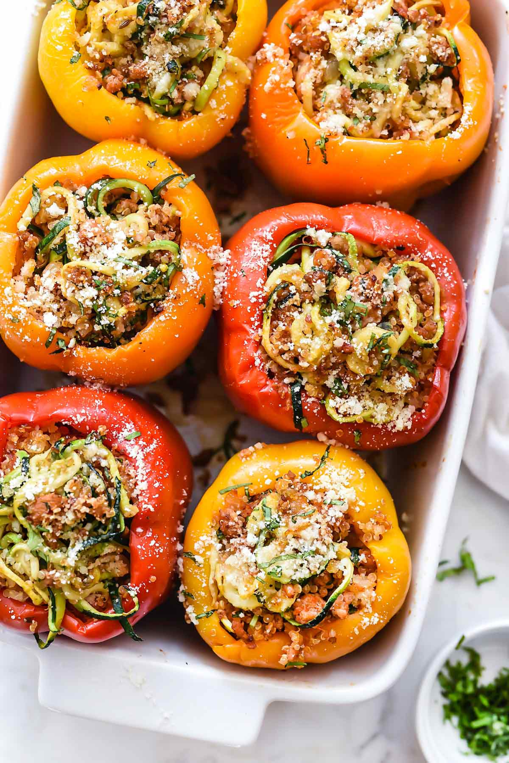 Spiralized Zucchini Quinoa And Turkey Sausage Stuffed Peppers Foodiecrush Com In 2020 Easy Stuffed Pepper Recipe Stuffed Peppers Peppers Recipes