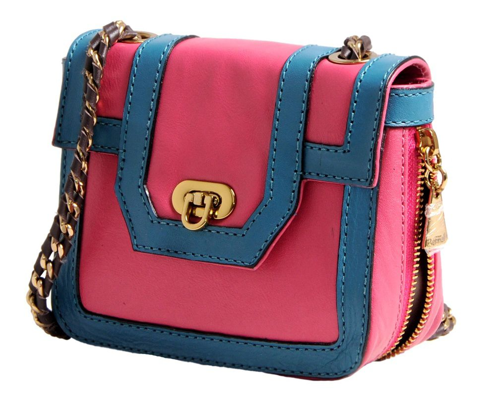 24d992f52 Notore - Bolsas Femininas Online - Bolsa It Rosa e Azul Corrente de Couro  Bennelle