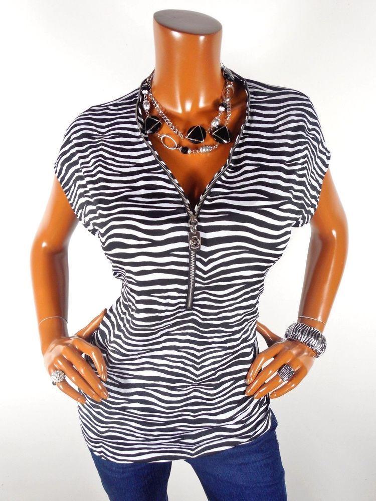 c3bb790cb6d057 MICHAEL KORS Womens Top L Zebra Print Blouse Casual Shirt MK Zipper Black  White  MichaelKors  Blouse  Casual