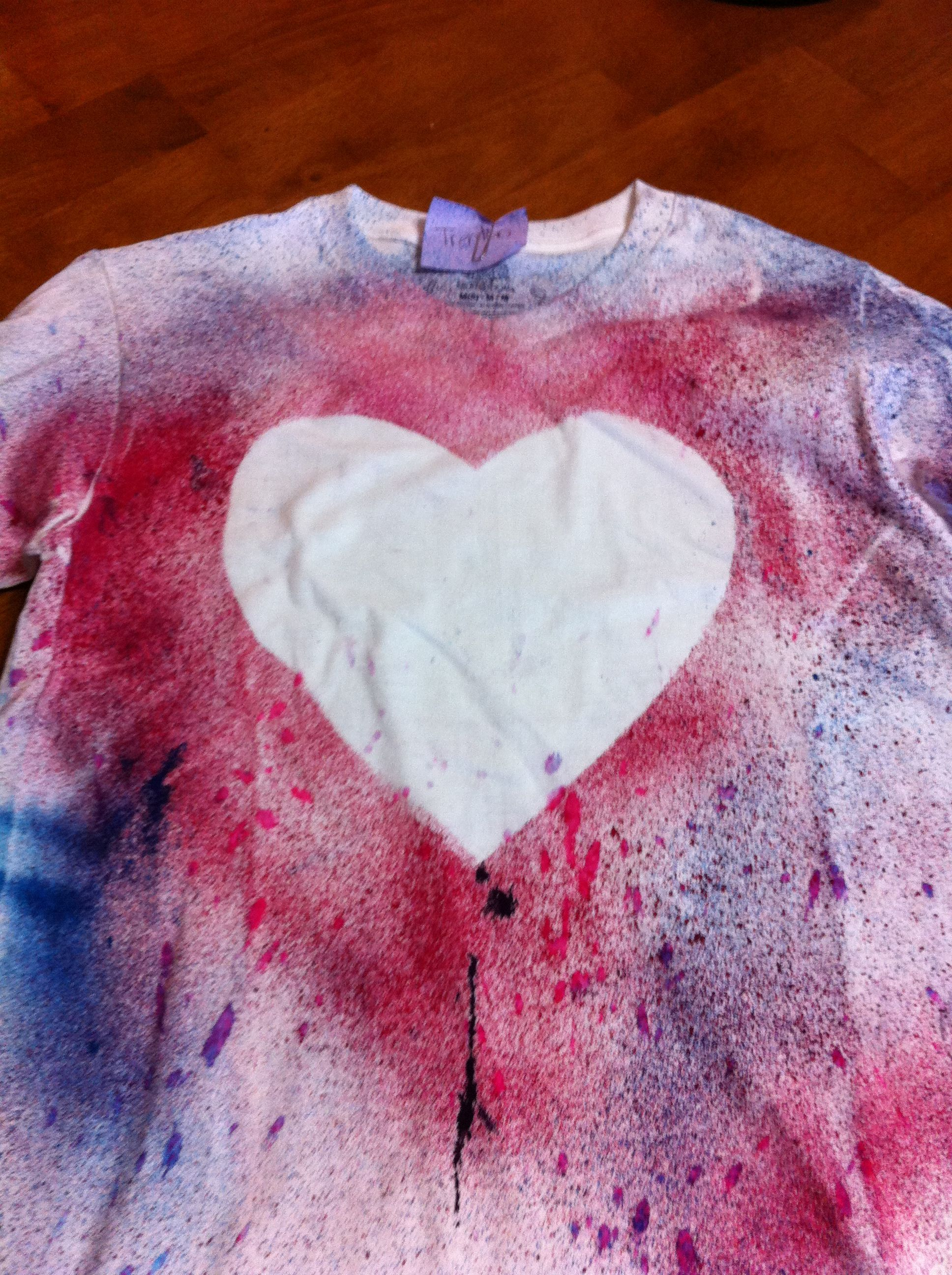 Red white & blue tie dye heart shirt! Cut out a big foam heart.