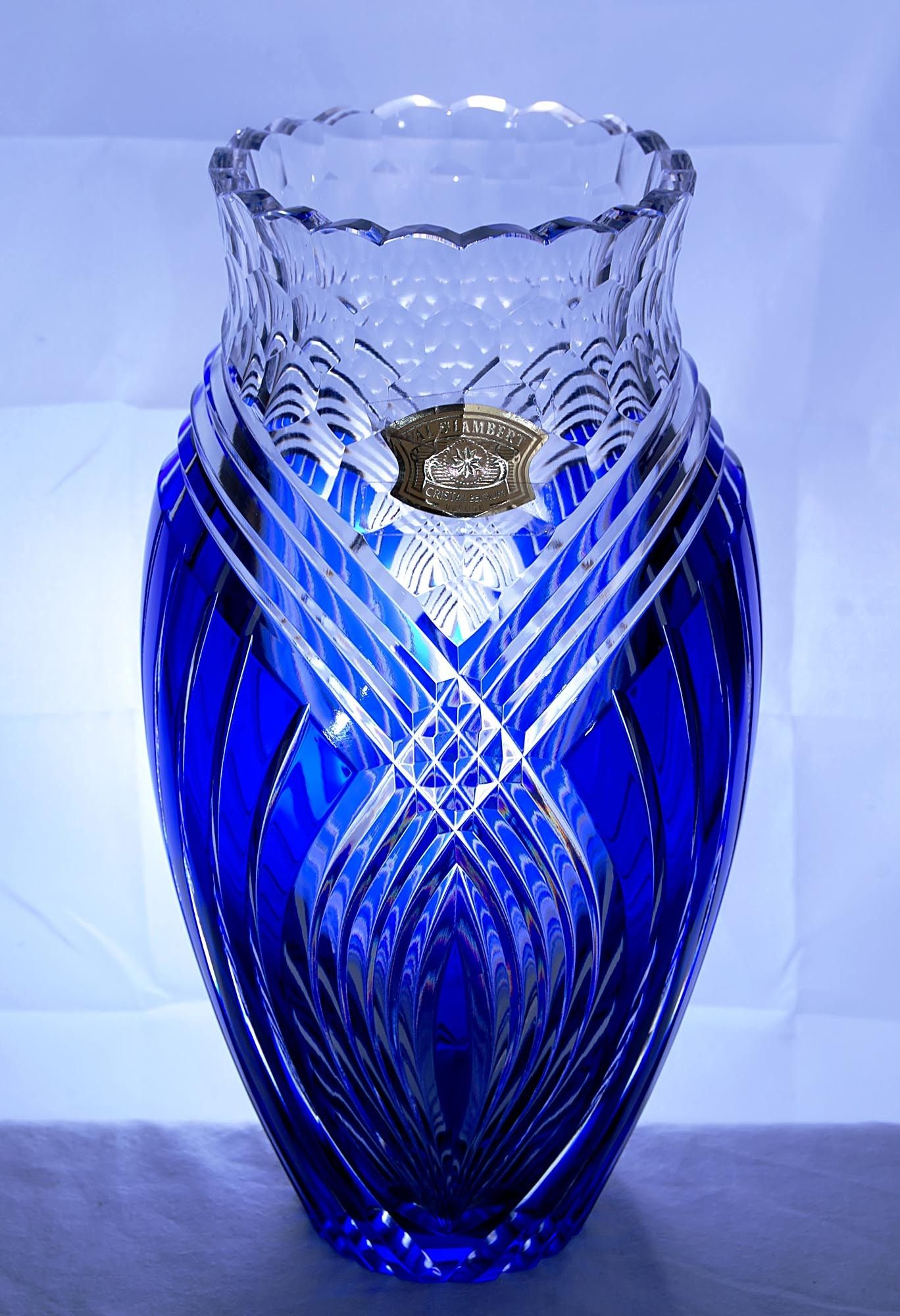 be lovely cobalt artwire collectibles late sold fla on pair lusters panama release and antiques of clear blue this a cut glass saturday bohemian vase an at will in year century jan collection city to