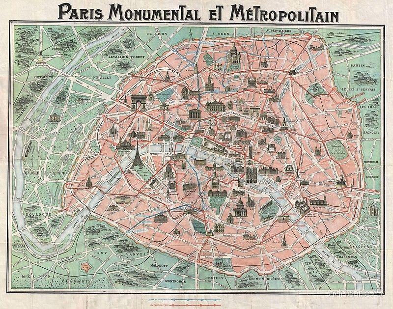 Old Map Of Paris Poster By Adrienne75 Paris Map Paris Street Map Vintage Maps