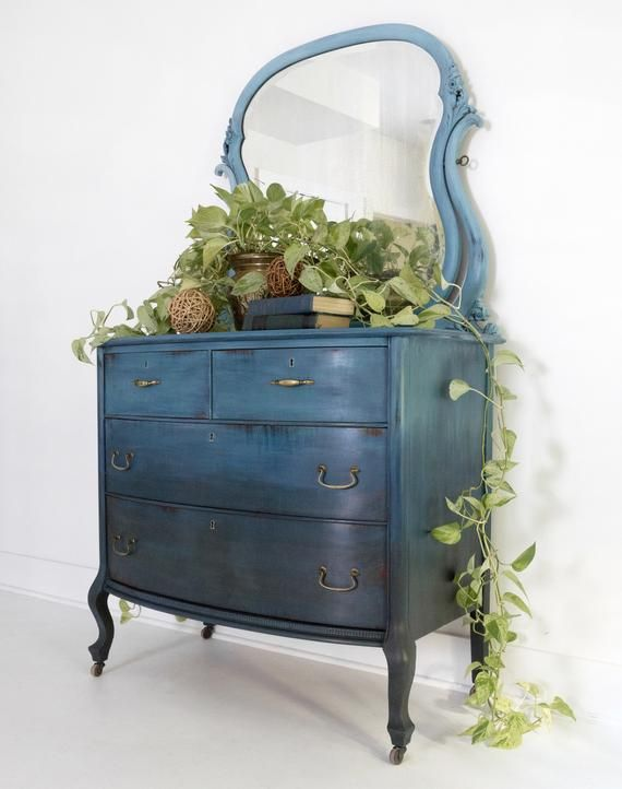 SOLD SOLD Blue Bohemian Ombre Vintage Antique Dresser with ...
