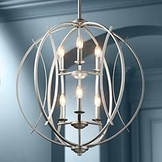 Brushed Nickel Spherical 24 Wide 6 Light Pendant