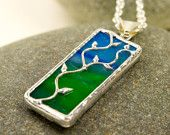 Blue/Green - Twig Necklace 3 - Stained Glass - lead free solder