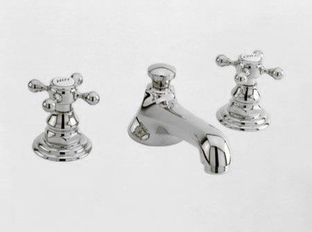 Bathroom Faucet Vintage newport brass widespread faucet with metal cross handles