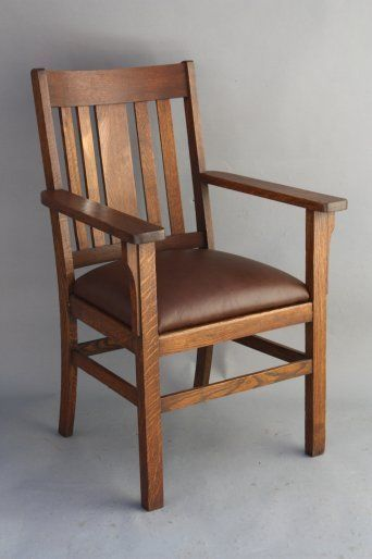 1910 Arts Amp Crafts Armchair W Leather Antique Oak Chair