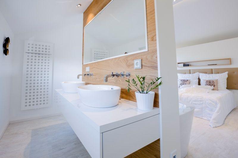 Fertighaus Wohnidee   Schlafzimmer #schlafbad #badimschlafzimmer  #doppelwaschbecken #Schlafzimmer #Badezimmer #Waschbecken