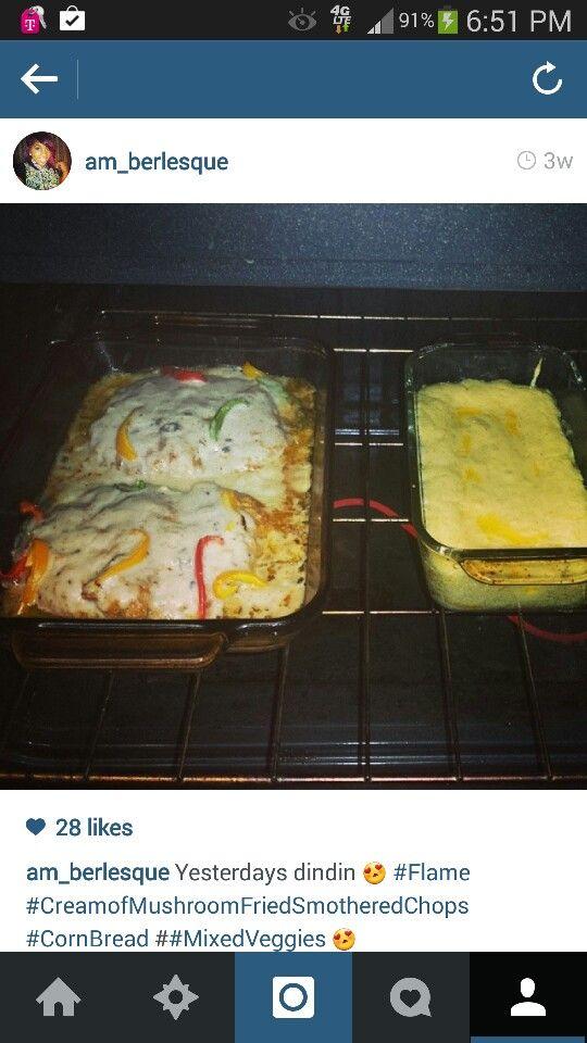 Cream of Mushroom Smothered baked Pork Chops; w/ Stop Light Peppers; Cornbread