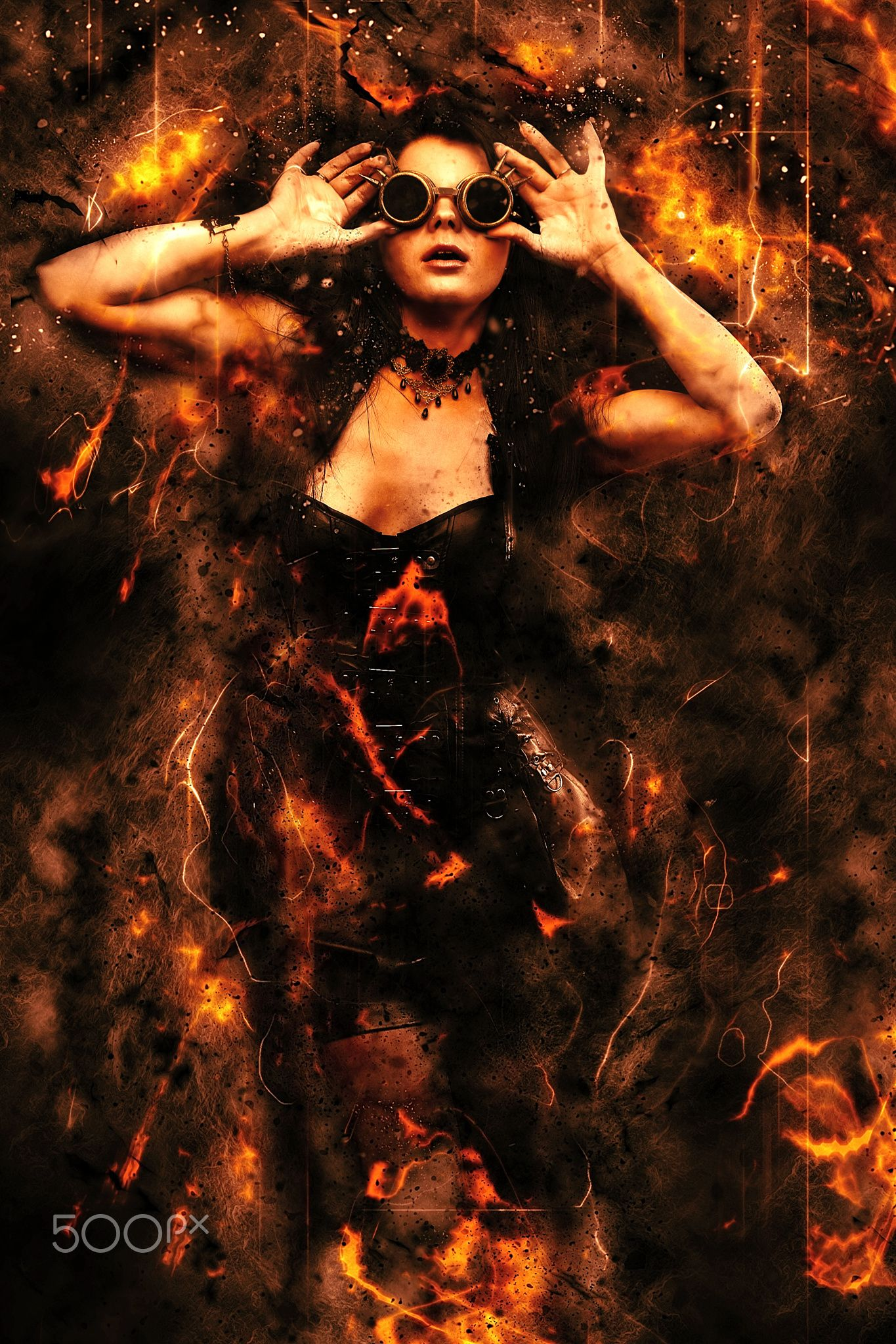 Steampunk woman in fire - null