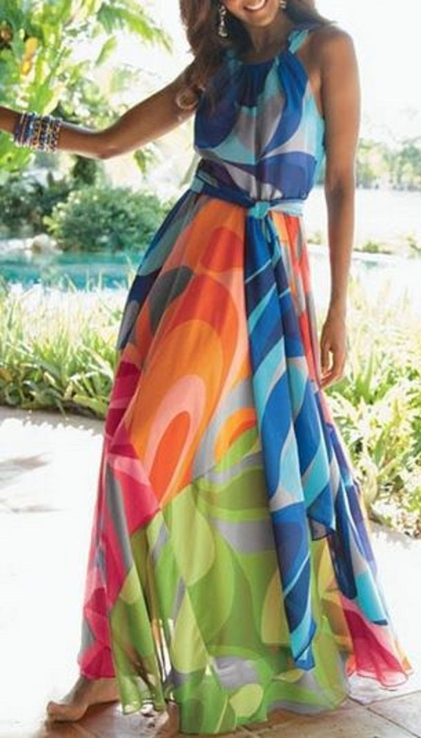 4d6c0b16fdd007 Love Love LOVE this Dress! Rainbow Colors Bold Sleeveless Colorful Maxi  Dress