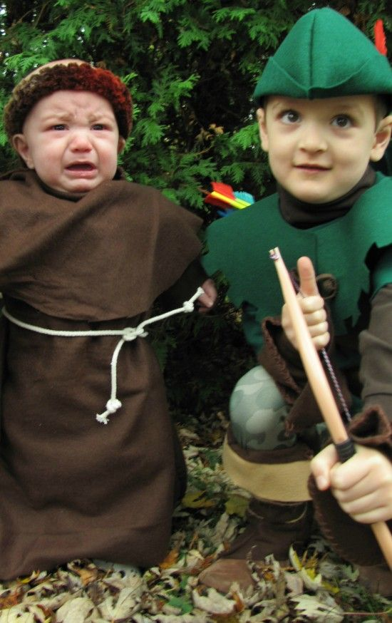 7ea7e55fad7 DIY a cute kids Robin Hood costume starting with a sweatshirt! Make a kids  Friar Tuck costume from a fleece blanket. Easy and inexpensive costume  ideas.