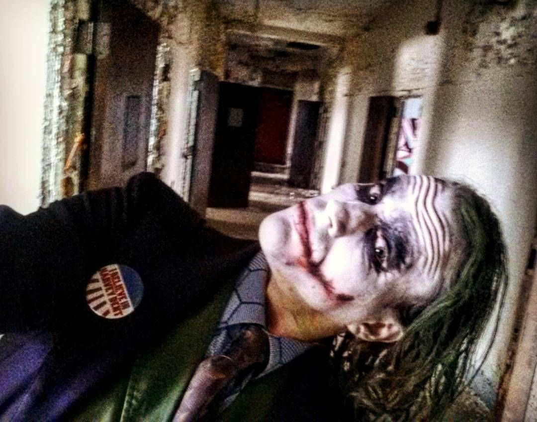"""""""You see? This is how crazy Batman's made Gotham! You want order in Gotham? Batman must take off his mask and turn himself in."""" A selfie in an abandoned mental hospital #bckcosplay #darkknightjoker #jokercosplay #joker #thejoker #darkknight #jokermakeup #batman #batmancosplay #dccomics #cosplay #whysoserious #makeup #cosplaymakeup #heathledgerjoker #jokercostume #gotham #menofcosplay #smile ##thedarkknight"""