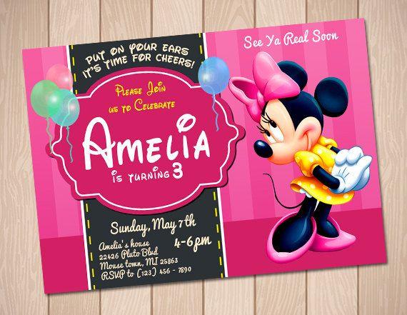 Minnie Mouse Birthday Invitation  Girl Birthday Party por Anerdo