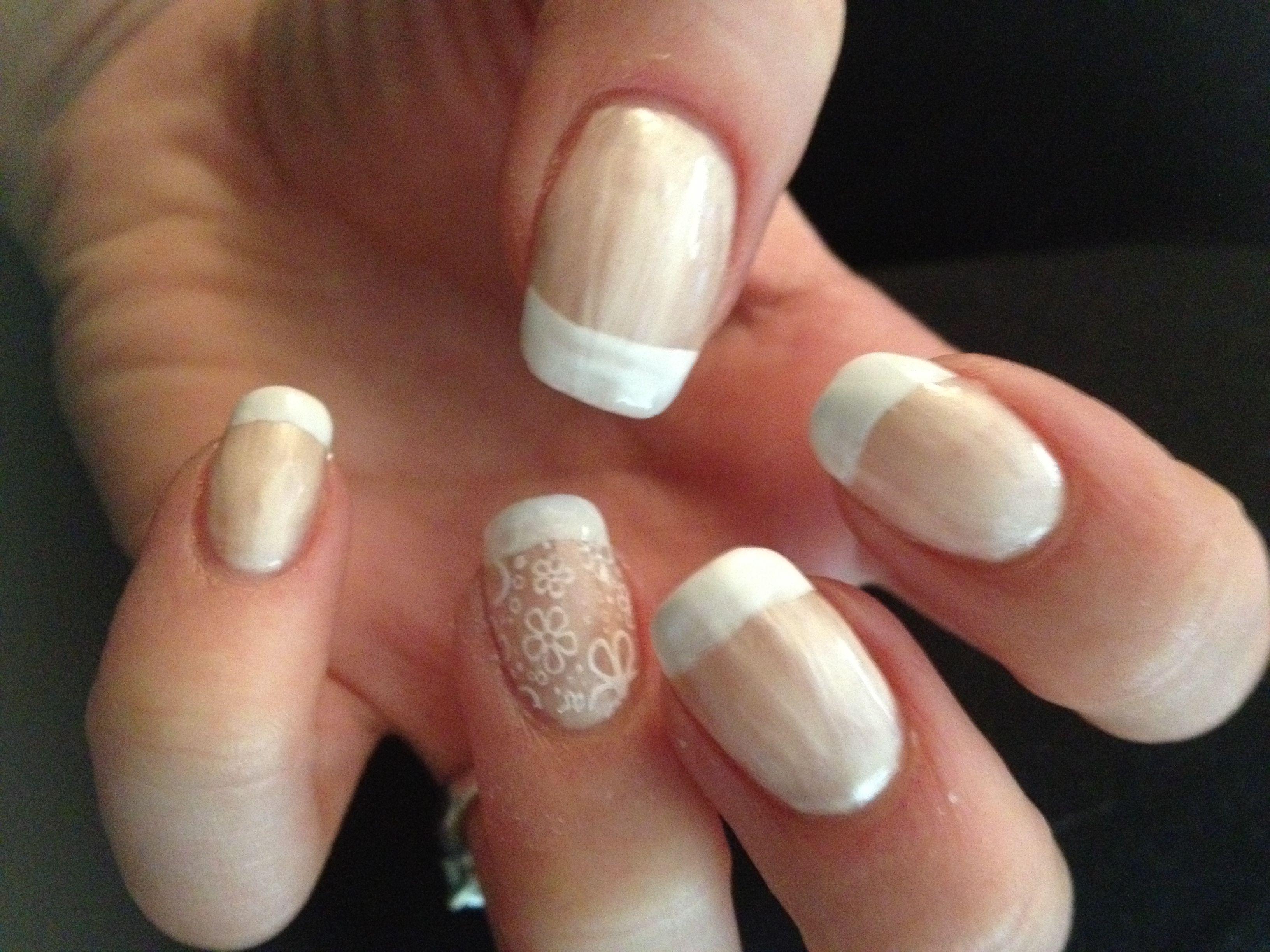 Flower French wedding nails