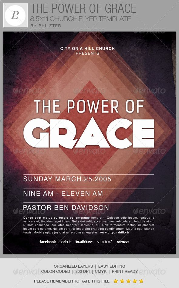 The Power of Grace Church Flyer Template on Behance | Posters ...