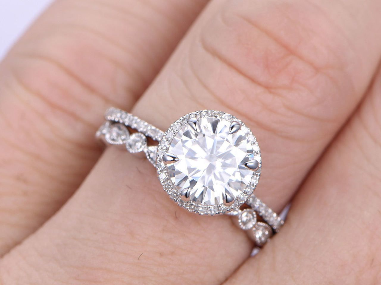 2pcs Wedding Rng Set,Big Moissanite Ring,8mm Round Cut Moissanite ...