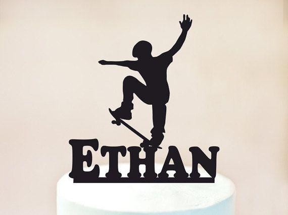 Skateboard Cake topperskateboarder Cake by TopperRoom on Etsy