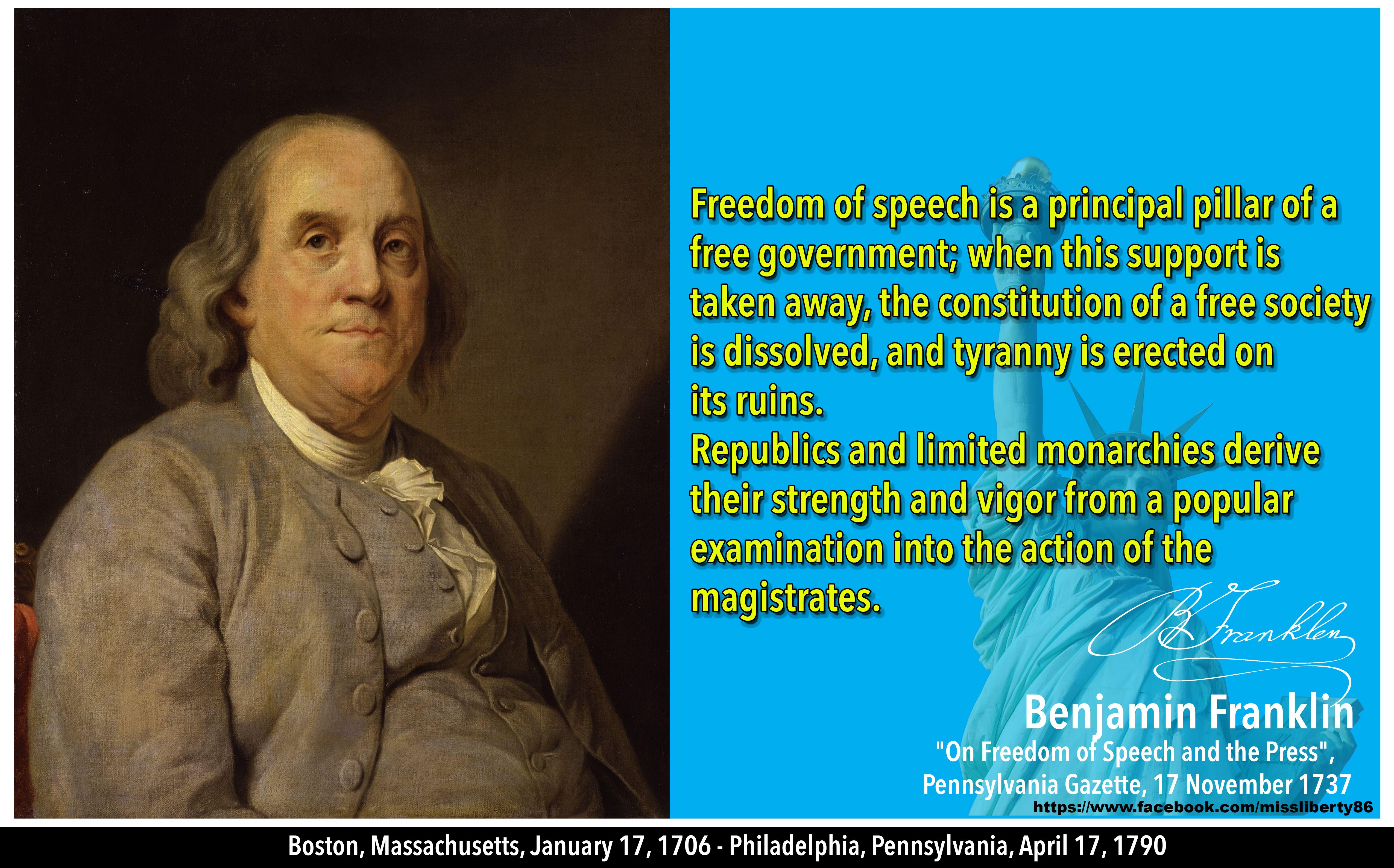Freedom Of Press Quotes Benjamin Franklin On Freedom Of Speech  Quotes For Freedom
