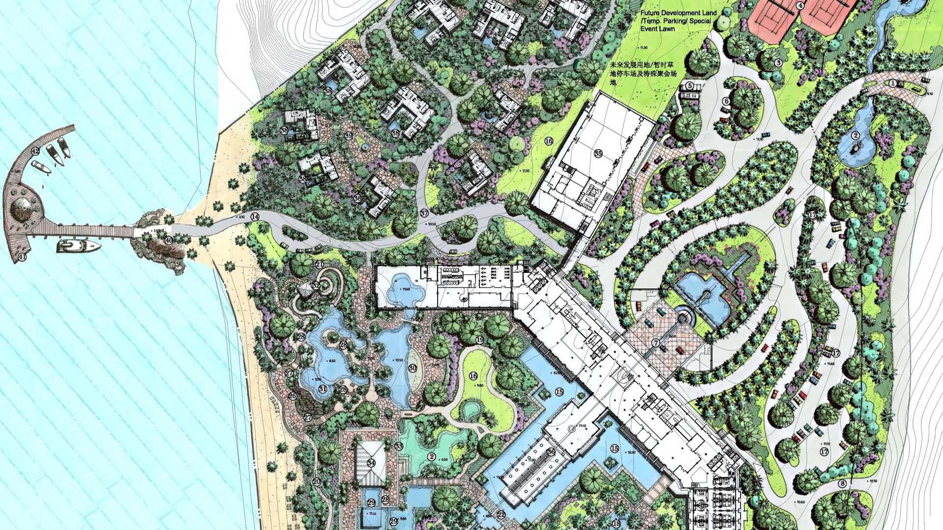 Resort beach master plan resort landscape pinterest for Hotel landscape design