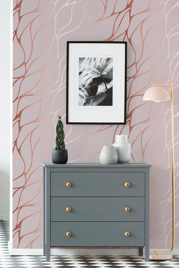 Pink Abstract Wallpaper Self Adhesive Wallpaper Decorative Etsy Rose Gold Wallpaper Brown And Gold Wallpaper Pink And Gold Wallpaper