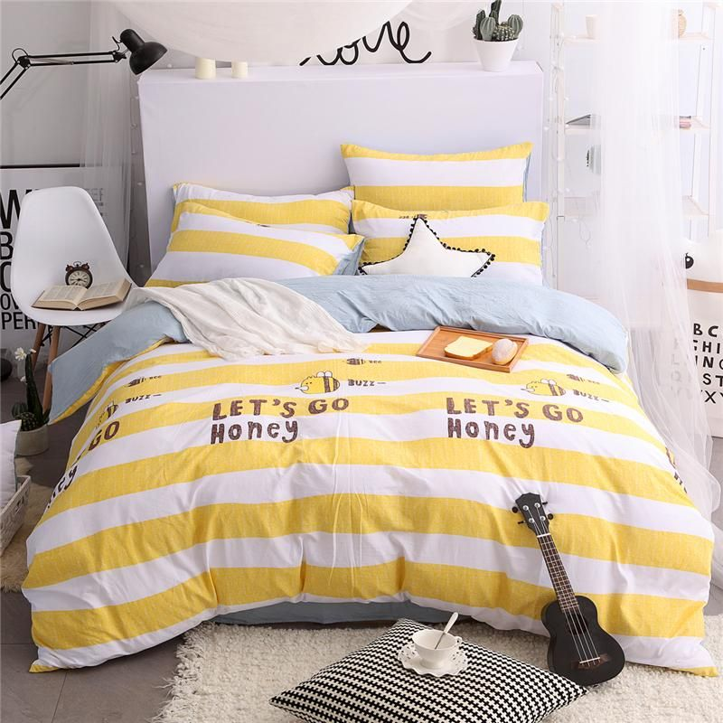 Available At Ricki Rocket Let S Go Honey Striped Duvet Bedding Set Yellow White Pale Blue Duvet Bedding Sets Cotton Bedding Sets Muji Bed