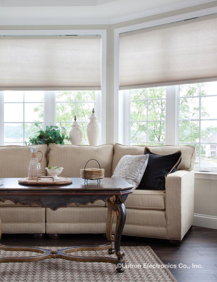 Motorized Window Shades Remote Control Cellular Motorized Shades Roller Shades Living Room Living Room Windows Window Shades