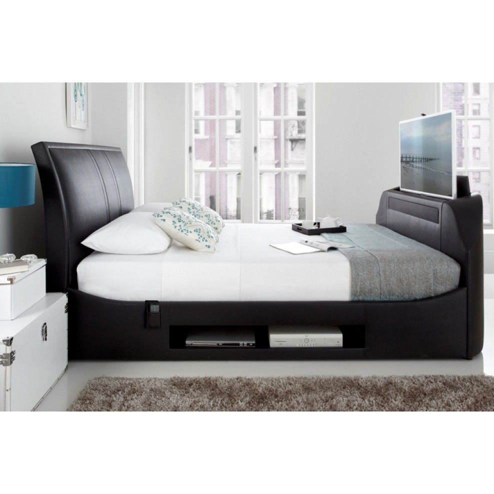 Kaydian Maximus Black Leather TV Bed