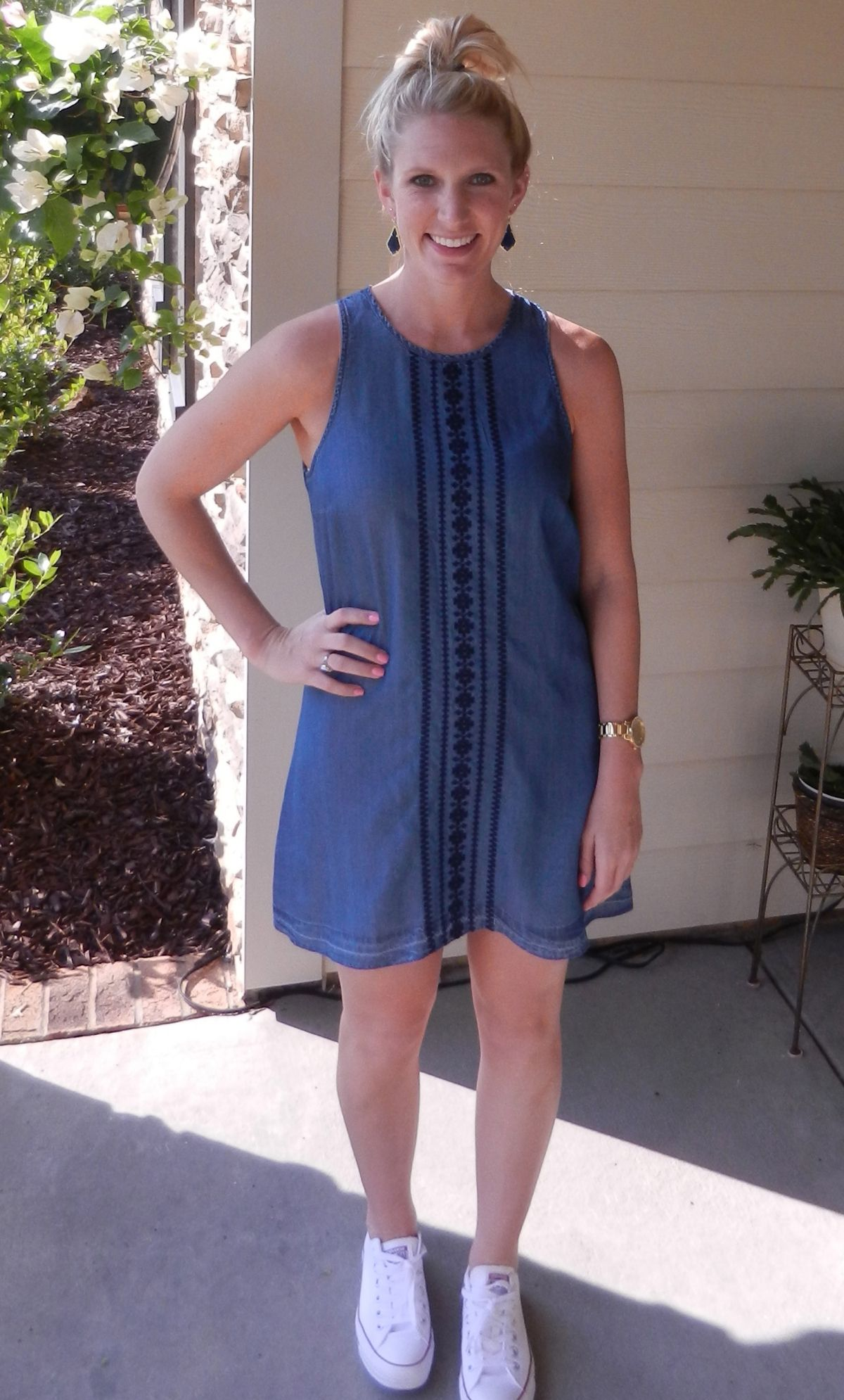 Keeping it casual in a denim dress from @nordstrom and converse ...