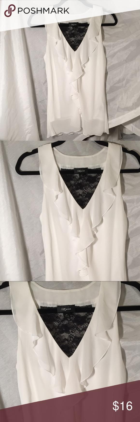 5cc79c503136b IZ Byer sleeveless ruffle blouse with lace Elegant ruffled blouse size  medium with black lace on the back. Wonderful condition ! Iz Byer Tops  Blouses