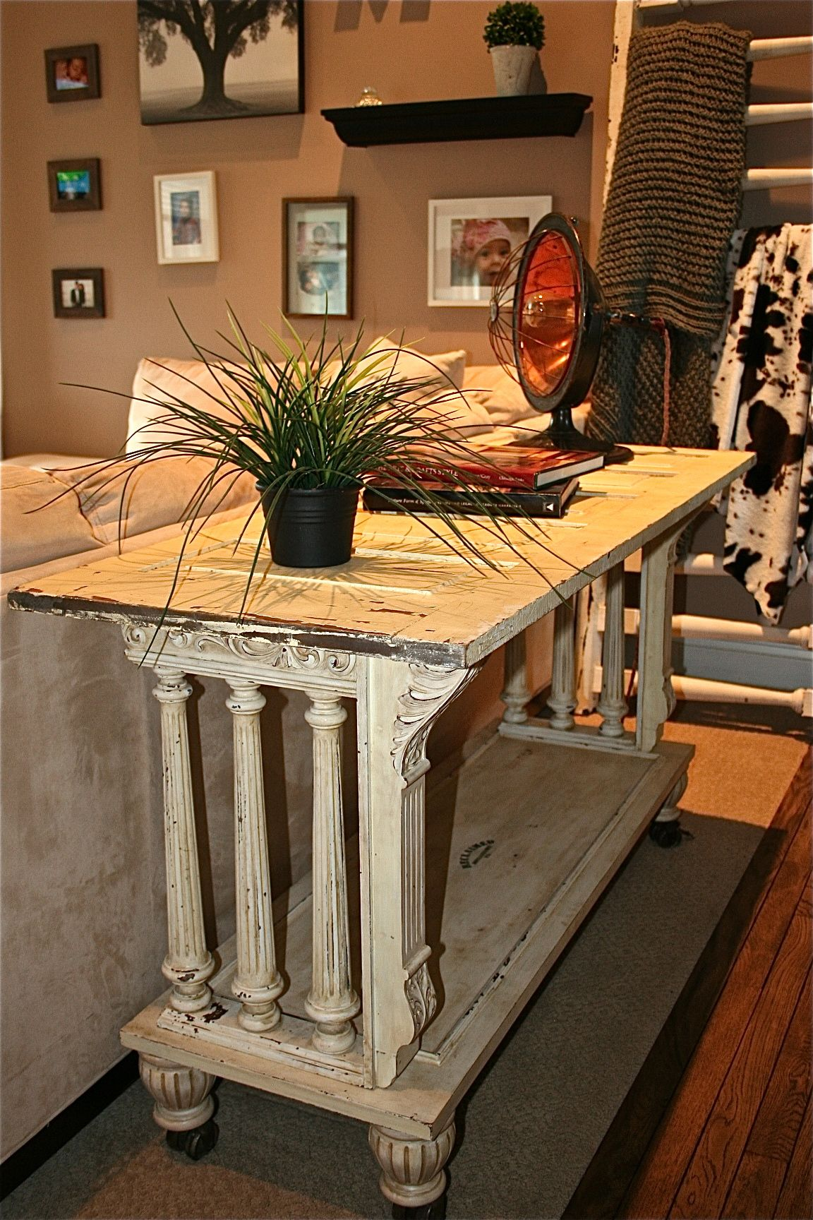 sofa table or kitchen island buffet table from reclaimed antique