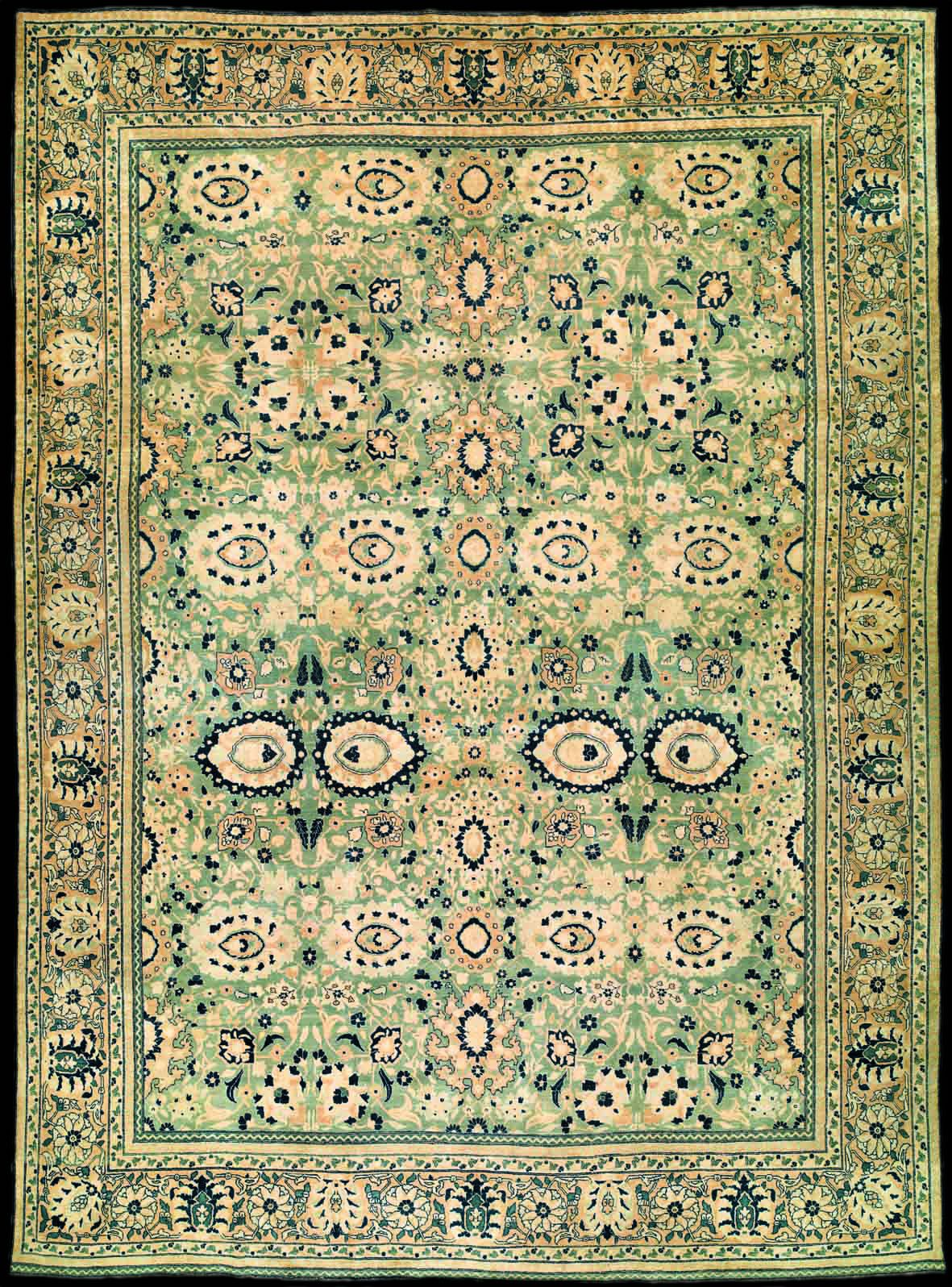 Antique Tabriz Persian Rug With Olive Green Persian Rug