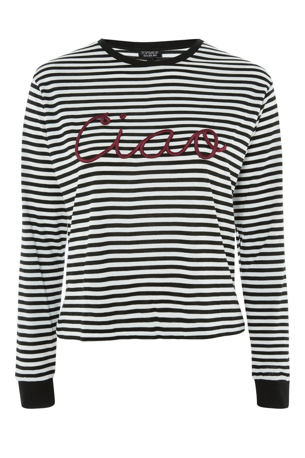 e4480dc3 Ciao' Embroidered Slogan Striped T-Shirt | I want never gets ...