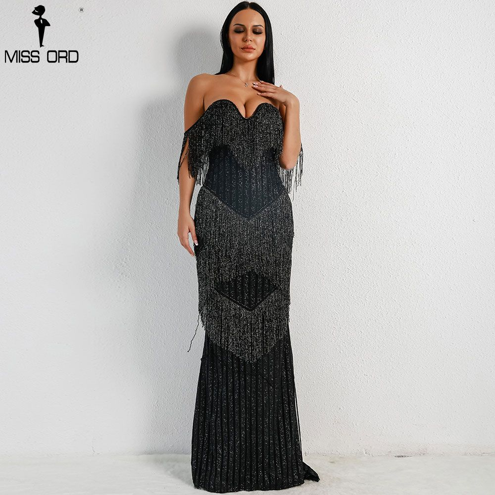 1c094a1846 2019 Sexy Bra Off Shoulder Backless prom Dresses Female Tassel ...