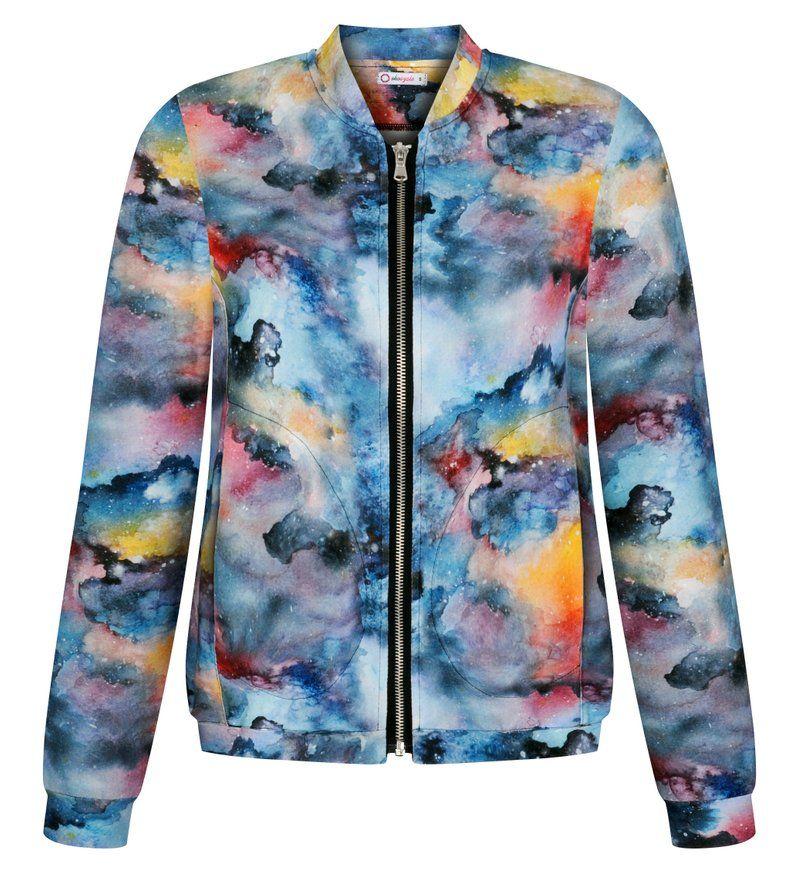 Dzianinowa Bomberka Damska Lekka Kurtka Wiosenna Batik Etsy Athletic Jacket Fashion Jackets
