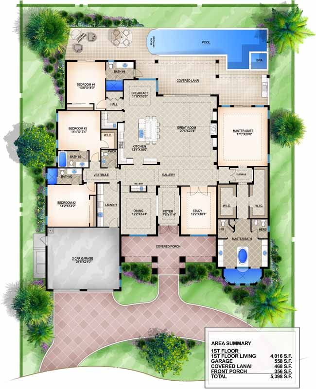 Luxury style house plans 4016 square foot home 1 story for Seven bedroom house plans