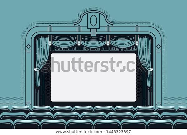 Cinema Theatre Movie Screen Vector Illustration Stock Vector Royalty Free 1448323397 Cinema Theatre Movie Screen Cinema