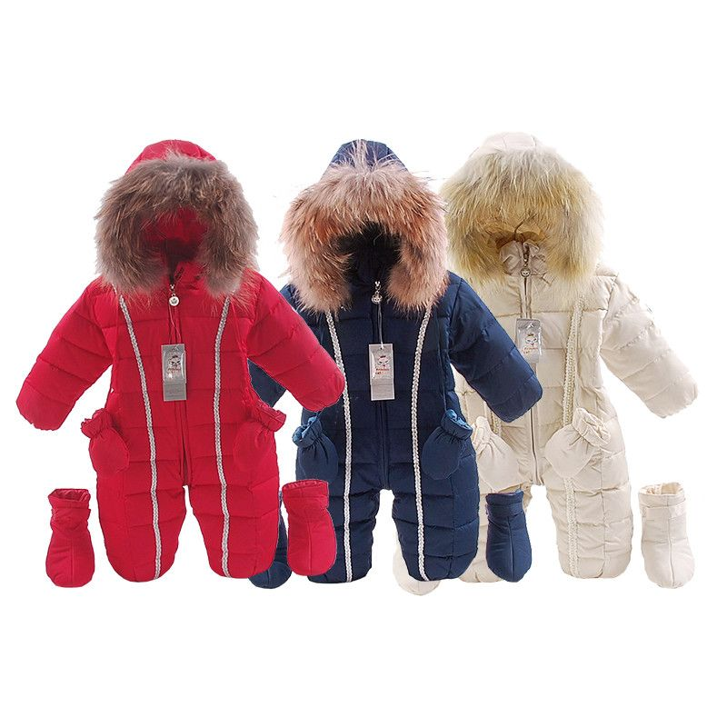 b1cd39ed8 russia winter natural fur baby clothes baby girls boys Thick Warm ...
