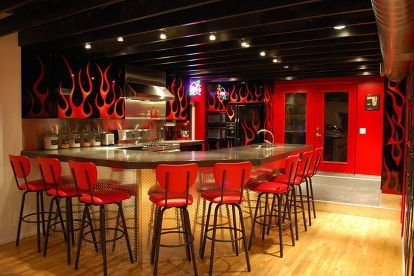 my rock n roll loft mancave, entertainment rec rooms, home decor, Flame Kitchen