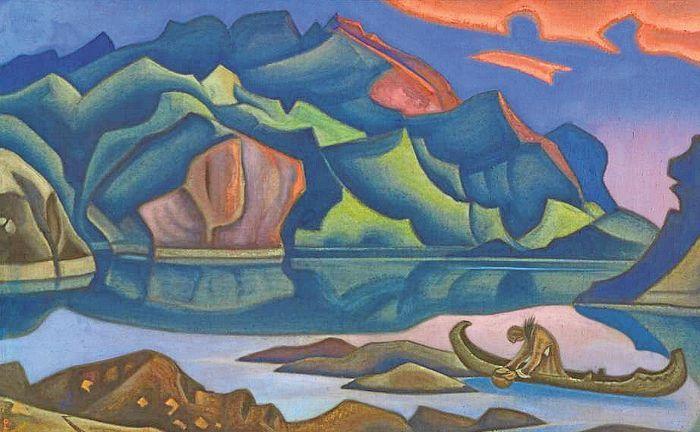 Nikolai Roerich: Järvi Himalajalla, 1937, tempera.
