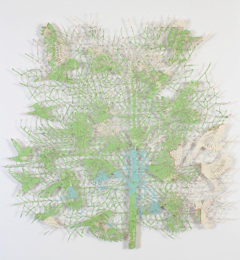 claire brewster, A bird in the hand, map, vintage, paper cut, paper art, contemporary art, artist, bird