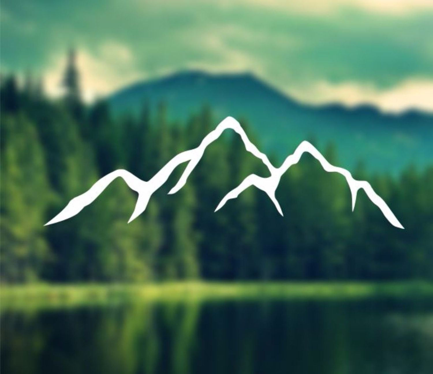 Decal Mountains Silhouette Car Decal Laptop Decal