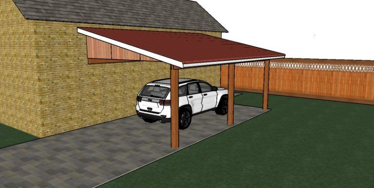 Attached carport free diy plans howtospecialist how