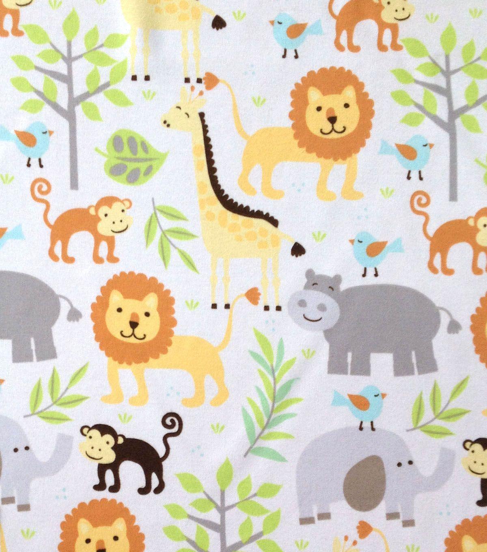 Nursery Fabric Zoo Animals Knit