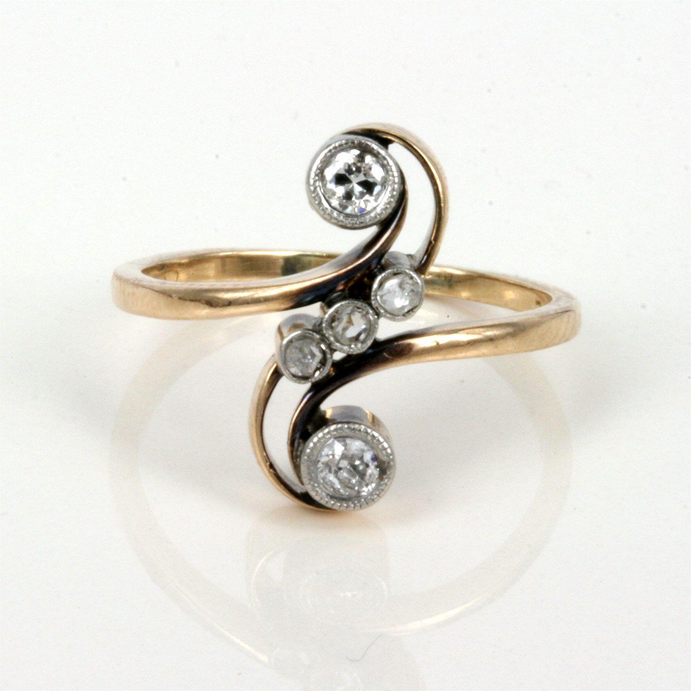 art nouveau toi et moi diamond ring european art nouveau diamond