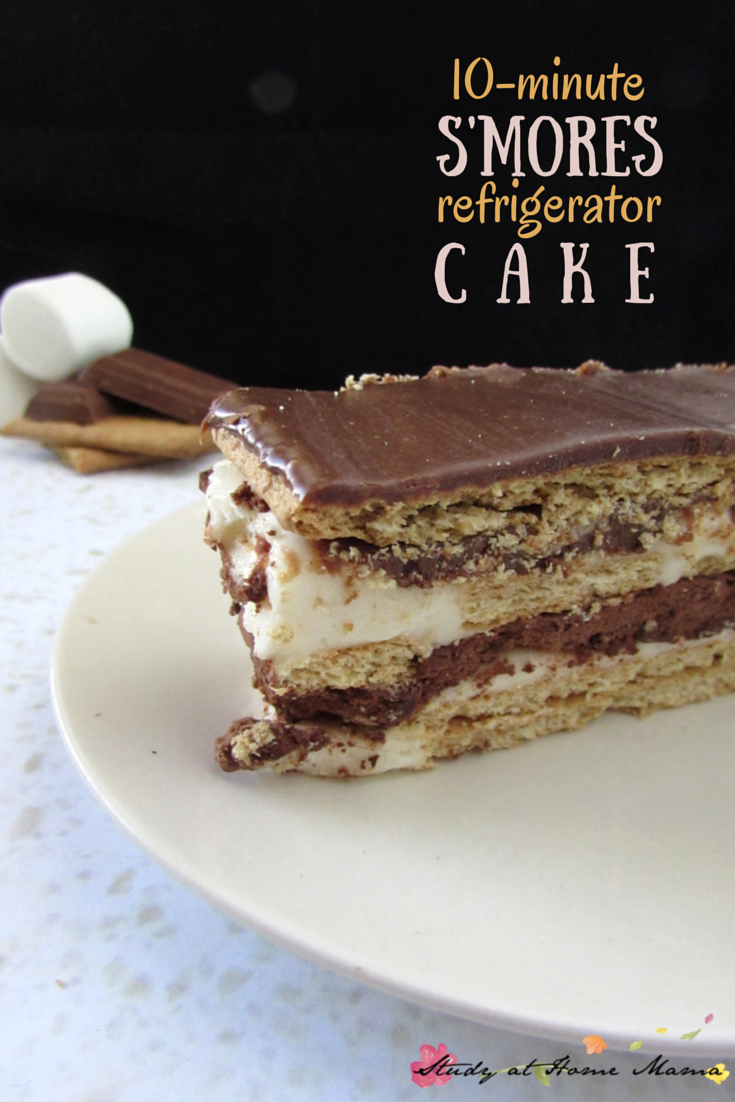 This no-bake s'mores refrigerator cake is an easy summer dessert for entertaining. 10 minutes, 6 ingredients -