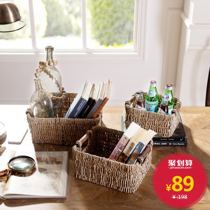 [Brand Group] hand-woven seagrass storage baskets storage baskets Yi Lier three- & Brand Group] hand-woven seagrass storage baskets storage baskets Yi ...