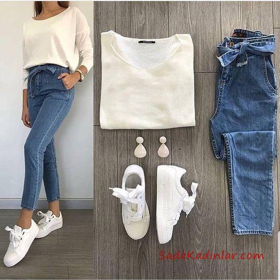 2019 Spor Ayakkabı Kombinleri Mavi Yüksel Bel Kot Pantolon Beyaz Bluz Beyaz Spor Ayakkabı