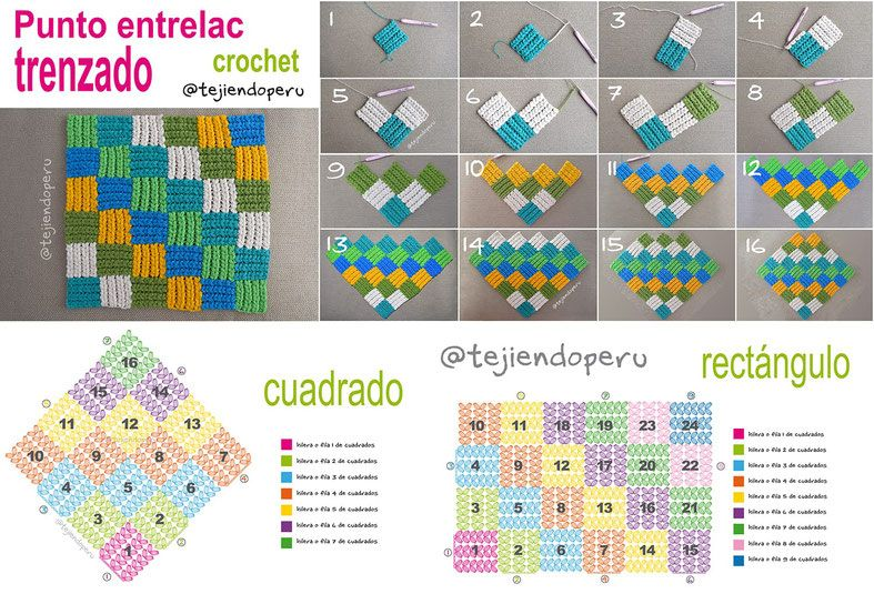 Punto entrelac trenzado - Tejiendo Perú | ΠΛΕΞΙΜΟ ΜΕ ΒΕΛΟΝΑΚΙ ...